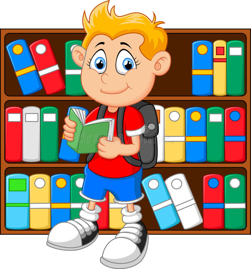 boy library cartoon illustration 60242672